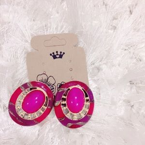 Magenta Gold Tone Clip On Earrings
